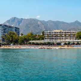 Marbella Lighthouse Beach by Roberto Sorin - City,  Street & Park  Skylines ( palm, byron, del, plaza, sol, view, costa, province, marbella, bay, costa del sol, maui, landmark, resort, sky, town, andalucia, old, malaga, coast, square, marina, andalusia, port, southern, spain, lighthouse, city, destination, tourism, holiday, sea, tourist, mediterranean sea, puerto, vacation, place, europe, architecture, spanish, mediterranean, yacht, attraction, residential, blue, seaside, beach, luxury, travel, banus,  )