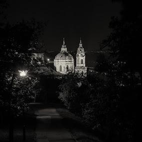 Church St. Nicholas by Robert Grim - City,  Street & Park  Night ( church, black and white, czech republic, night, prague )