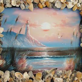 The Lighthouse by Yvonne Collins - Digital Art Things ( picture, frame, digital art, lighthouse, handmade, heavy, seashells, things, pretty )