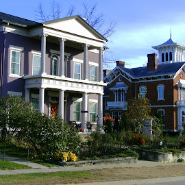 Histori Houses of Galena by Kathy Rose Willis - City,  Street & Park  Historic Districts ( galena, houses, illinois, purple, brick, white, historical, mansions,  )