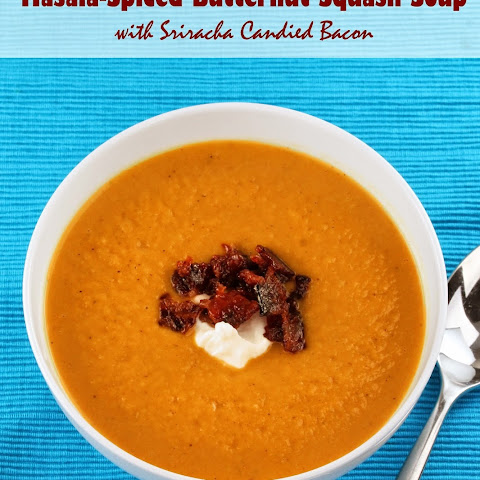 Masala- Spiced Butternut Squash Soup with Sriracha Candied Bacon