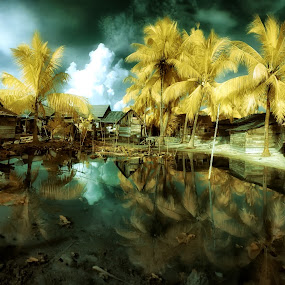 Altered Tides by Alvin Lee Hahuly - City,  Street & Park  Vistas ( tides, osi island, indonesia, tide, villages, island )