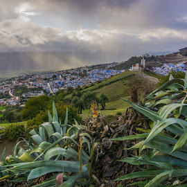 Rif mountains by Martin Vanek - Landscapes Cloud Formations ( clouds, mountains, cacti, mosque, chefchaouen, morocco, rain, sun )