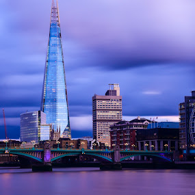the Shard by Balan Gratian - City,  Street & Park  Night ( the shard, london night, london shard, blue shard, shard on sky )