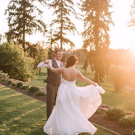 Dancing at Sunset by Kate Gansneder - Wedding Bride & Groom ( wedding, sunset, couple, bride, groom )