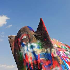 Now they call it Cadillac Ranch by Chris Snyder - Artistic Objects Other Objects ( car, great plains, tx, amarillo, cadillac, texas, art, route 66, paint, cadillac ranch, public art, tail fin )