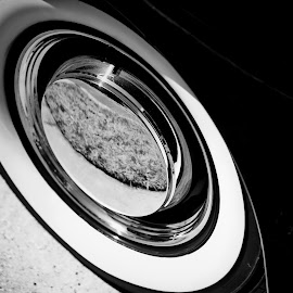 Tired by Jim Signorelli - Black & White Abstract ( wheel, tires, wheels, b&w abstract, tire )