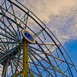 Night Before the Fair by Barbara Brock - City,  Street & Park  Amusement Parks ( carnival ride, amusement park ride, ferris wheel )