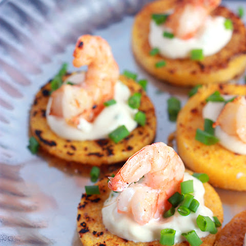 Grilled Polenta Shrimp Rounds