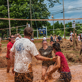 Splash by Myra Brizendine Wilson - Sports & Fitness Other Sports ( teams, mud, volleyball, sports, mud volleyball, people )
