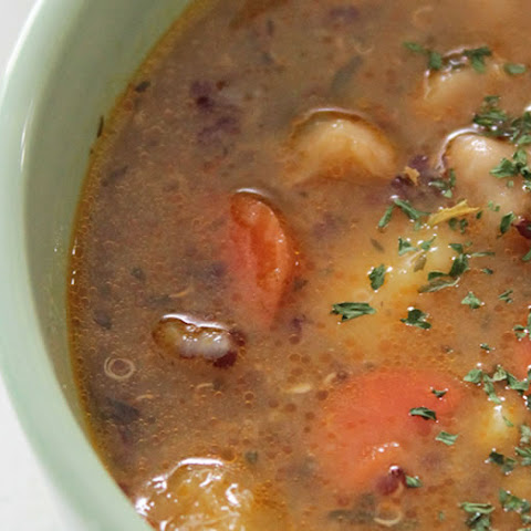 Winter Vegetable Soup with Squash, Garbanzo Beans, and Quinoa