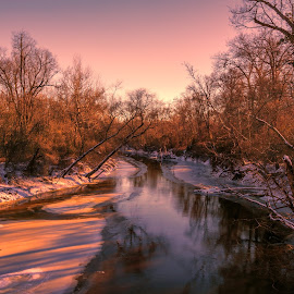 Fishing Creek by Robert Mullen - Landscapes Forests ( water, stream, winter, ice, creek, snow, late afternoon, river )
