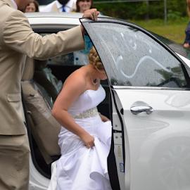 Leaving by Alan Dougherty - Wedding Other ( honeymoon, wedding day, tired, bride and groom, nikon )
