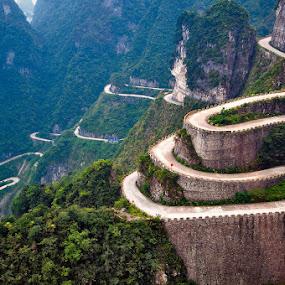 Road to Tianmen Mountains, Zhangjiajie China by Peter Cheung - Landscapes Travel ( tianmen mountain )