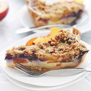 Peach Blueberry Custard Pie with Streusel Topping