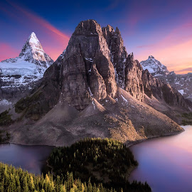 Mount Assiniboine by Shannon Rogers - Landscapes Mountains & Hills ( hills, mountains, mount assiniboine, canada, sunset, snow, reflections, view, sunrise )