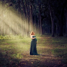 My Beautiful Wife & Future Son by John Hancock - People Maternity ( maternity, riverfront, trees, gown, woods, sun rays, riverfront park )