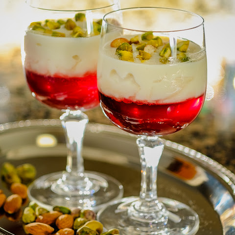 Rose Rice Custard with Pomegranate Jelly