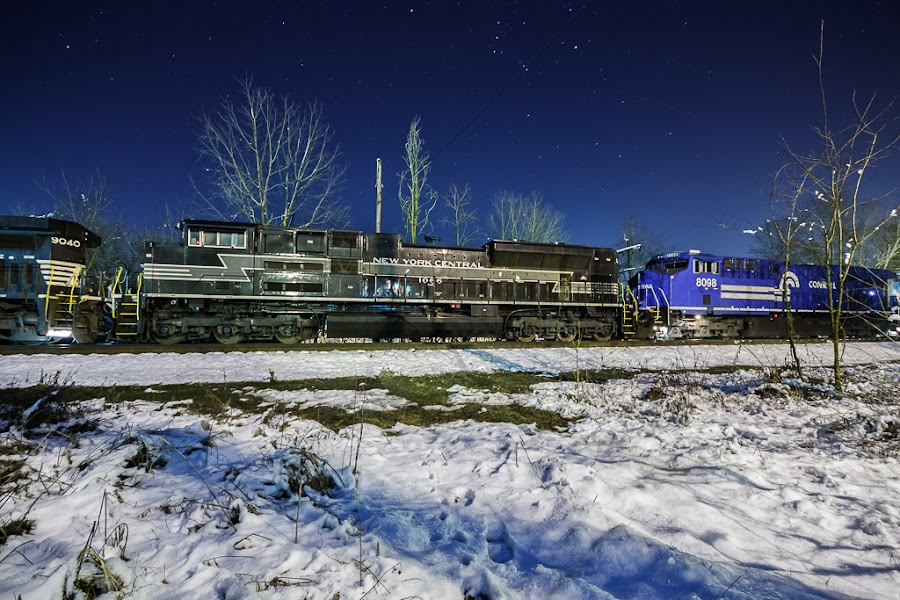Heritage Under Orion's Belt by Greg Booher - Transportation Trains ( new york central, norfolk southern, orion, railroad, 38q, ge, heritage, winter, es44ac, sd70ace, greg booher, january, stars, locomotive, snow, rail, train, conrail, bristol, emd )