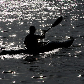Rolling on The River by Sam Long - Transportation Boats ( paddling, silhouette, the potomac river, washington dc, oar, boat, kayak )