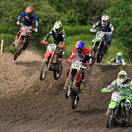 Everybody Jumps by Marco Bertamé - Sports & Fitness Motorsports ( mud, motocross, speed, dust, clumps, race, noise, competition, crowded, six, jump )