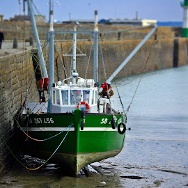 Green fishing boat by Ciprian Apetrei - Transportation Boats ( green, brittany, fishing, transportation, boat )