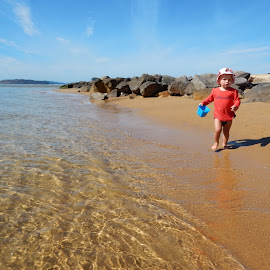 Moving by Geoffrey Wols - Babies & Children Toddlers ( child, water, sand, ettalong, beach, rocks,  )
