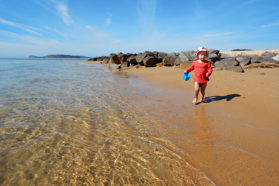 Moving by Geoffrey Wols - Babies & Children Toddlers ( child, water, sand, ettalong, beach, rocks,  )