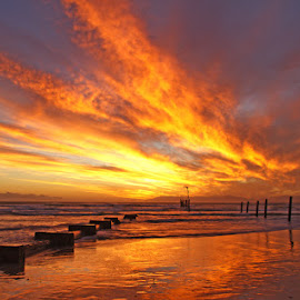 FIRE IN THE SKY by Issi Potgieter - Landscapes Sunsets & Sunrises ( sunset, strand, cape town, western cape,  )