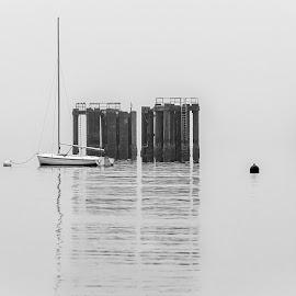 Mourning Haze by Brad Larsen - Landscapes Weather ( haze, water, reflection, docks, boat )