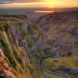 Cheddar gorge by Neil Choopani - Landscapes Mountains & Hills ( somerst, hills, sunset, cheddar, mendips, cheddar gorge )