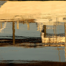 Boat Abstract by Lisa Cozene - Abstract Patterns ( water, abstract, reflections, boat, river )