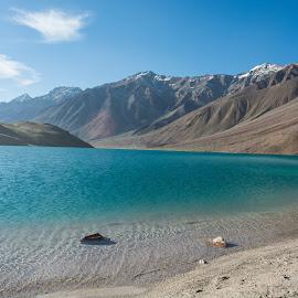chandratal lake by Aziz Merchant - Landscapes Mountains & Hills ( water, sky, mountain, nature, blue, lake, nikon, landscape )