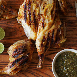 Grilled Brick Chicken with Tomatillo Salsa