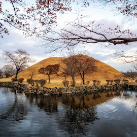 royal mounds reflection by Aaron Choi - City,  Street & Park  City Parks ( famous, tumuli, tomb, reflection, cultural, travel, beauty, landscape, historic, tumuli park, asian, royal mounds, nature, iconic, historic site, asia, daereungwon tomb complex, shilla, pond, north gyeongsang province, korea, gyeongsang province, water, gyeongju, peaceful, mound, tumulus, mounds, lake, tourism, daereungwon tomb, seorabeol, scenic, destination, korean, gyeongsangbukdo, gyeongsang, landmark, daereungwon, view, silla )
