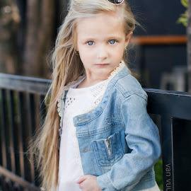 Young Fashion by Carel Van Vuuren - Babies & Children Children Candids ( jacket, child, face, fashion, girl, blue, jeans, blue eyes, denim, hair, young, portrait )