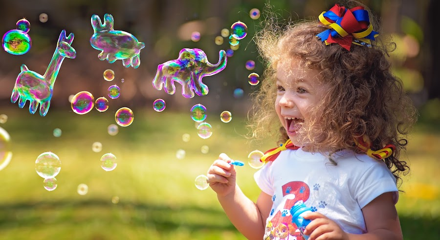 Bubble Fun by Charlotte Hellings - Babies & Children Child Portraits ( love, colour, bubble, girl, color, family, bubbles, beauty, fun, imagination,  )
