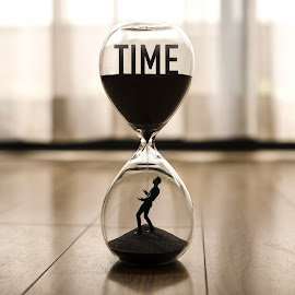 Time Running Out by Kyle Re - Digital Art Things ( indoor, bright, silhouette, fine art, meaning, contrast, clear, bold, time, fineart, figure, glass, hourglass, man )