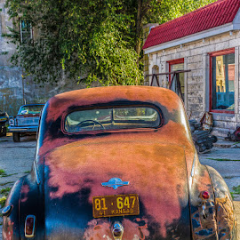 Old timer in Strong City, KS by Scott Fishman - Transportation Automobiles ( k-state, road trip, sunset, lake, towns.hhddrr )