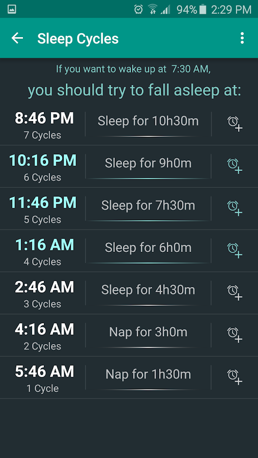 Sleep Calculator Screenshot 2