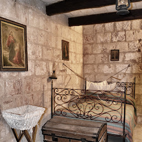 Bedroom In Old Windmill by Damian Allison - Buildings & Architecture Other Interior ( old, crib, chest, paintings, windmill, bedroom )