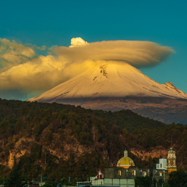 Lenticular clouds over the Popocatpetl by Cristobal Garciaferro Rubio - Landscapes Mountains & Hills ( clouds, popo, rise, mexico, popocatepetl, slud, lenticular clouds, sunrise, snowy volcano, sun )