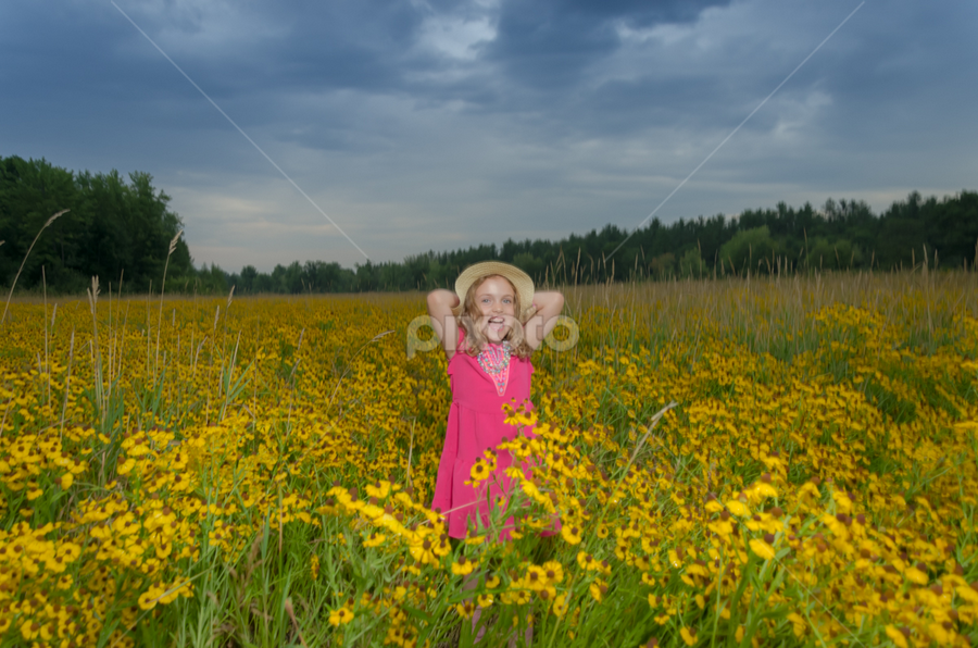 My Hat by Chris Cavallo - Babies & Children Children Candids ( sky, maine, pink, flowers, field, hat, clouds, girl, field flower )