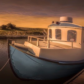 King Frederik VII Canal by Ole Steffensen - Transportation Boats ( king frederik vii canal, løgstør, sunset, tires, denmark, boat, limfjorden )