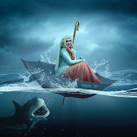 Princess & Shark by Muhamad Lazim - Digital Art People ( #princess #goddess )