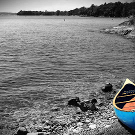 On the shore by Vikas Kaushal - Novices Only Objects & Still Life ( shore, water, still l, waiting, boat )