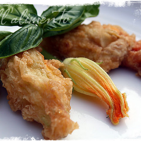 Fiori di Zucca Ripieni {Squash Blossoms stuffed with Ricotta and herbs}