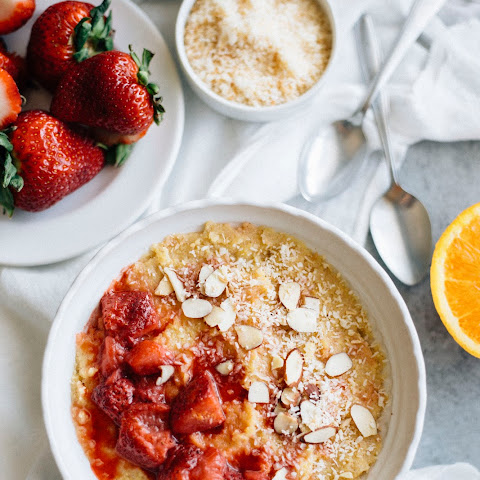 Strawberry Polenta Breakfast Bowl