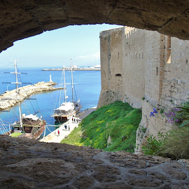 VIEW FROM THE CASTLE  by Wojtylak Maria - City,  Street & Park  Vistas ( old ruins, lighthouse, sea, pier, castle, ships, view, cyprus )