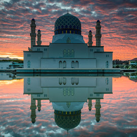 City Of kota kinabalu Mosque by Apa Ja - Buildings & Architecture Statues & Monuments ( calm, reflection, standing water, tranquil scene, scenics, tourism, lake, vibrant, architecture, beauty in nature, travel destination, cloud-sky, orange color, sky, building exterior, color, sunset, outdoors, moody sky, cloud, symmetry, dramatic-sky, built structure )